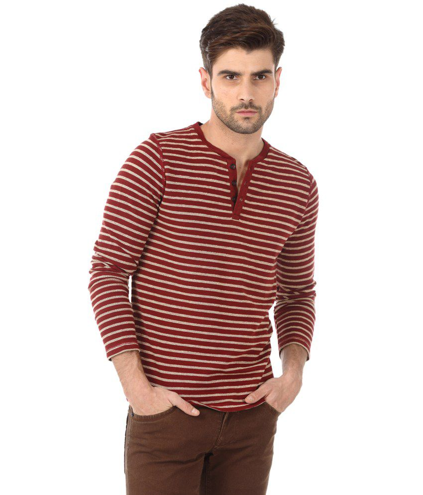 Basics Red and Beige Cotton T-shirt