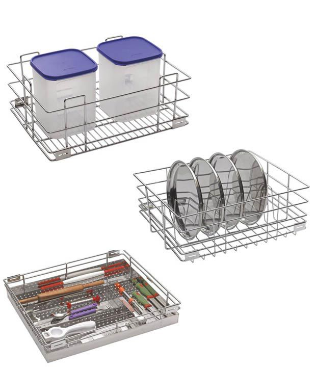 Leaves Steel Kitchen Basket - Set Of 3