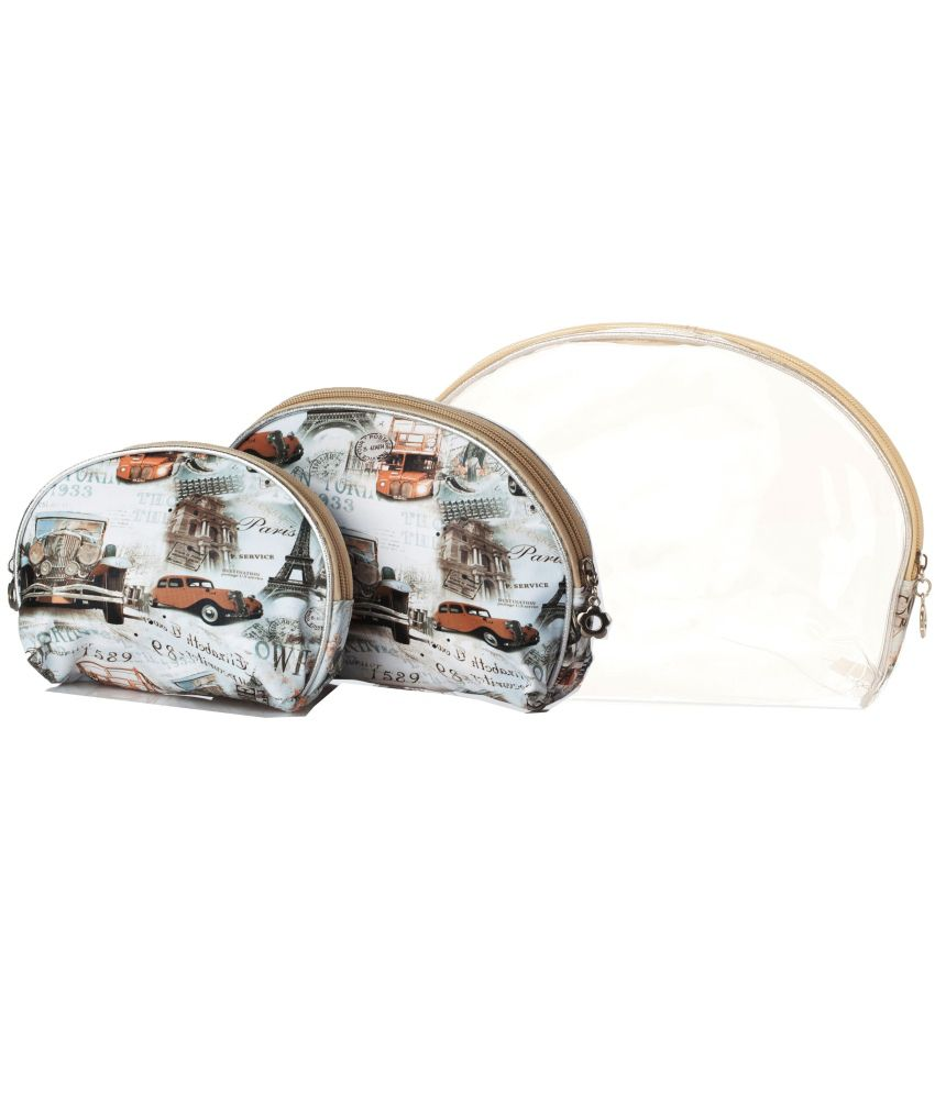 Stylehoops Paris City Print Set of 3 Travel/Cosmetic Pouch