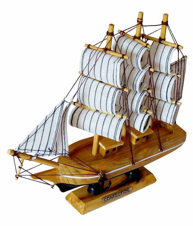Clickflip Brown Wooden Antique Decor Mini Titanic Ship Handicraft