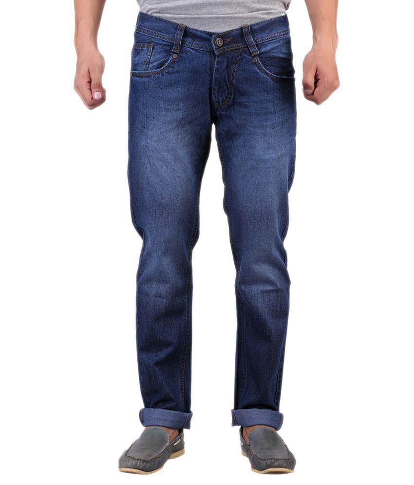 D2nine Blue Cotton Slim Fit Jeans