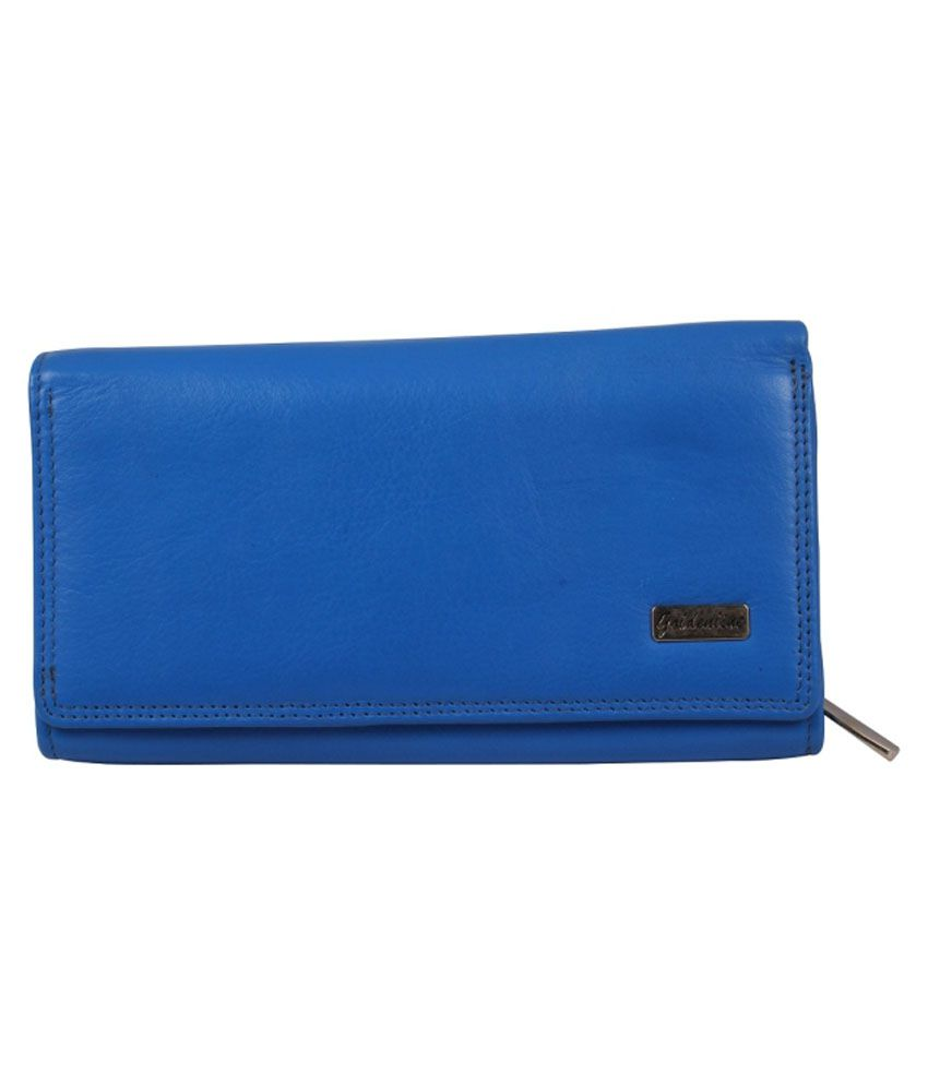 Goldenline Blue Leather Long Wallet For Women