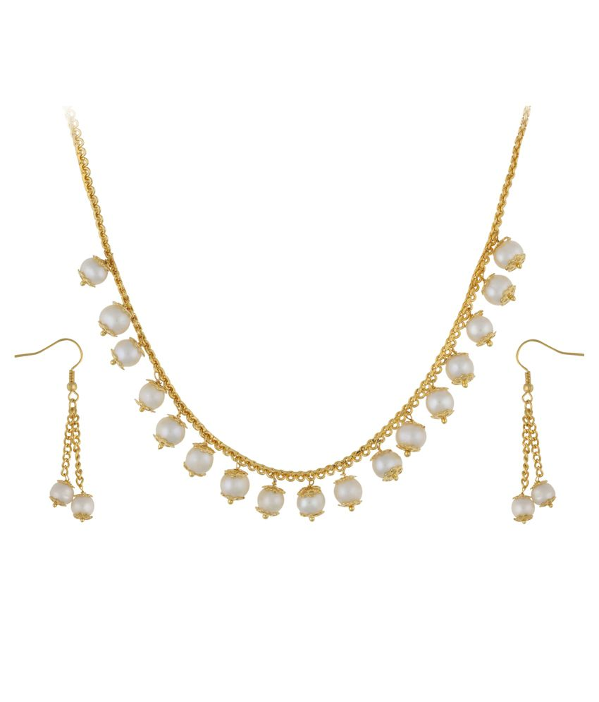 Jewel Planet Gold Pearl Casual Hit Traditional Necklace Set