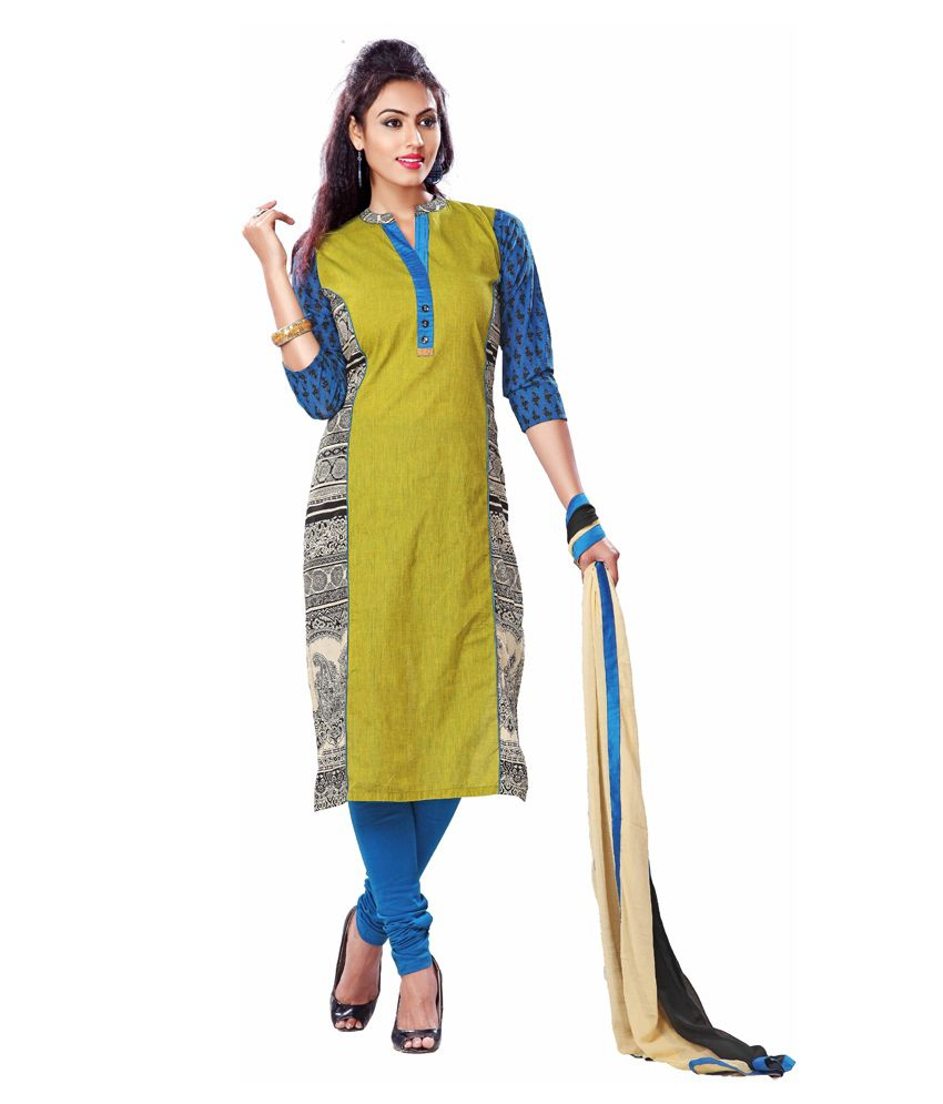 Payal Green Cotton Stitched Suit