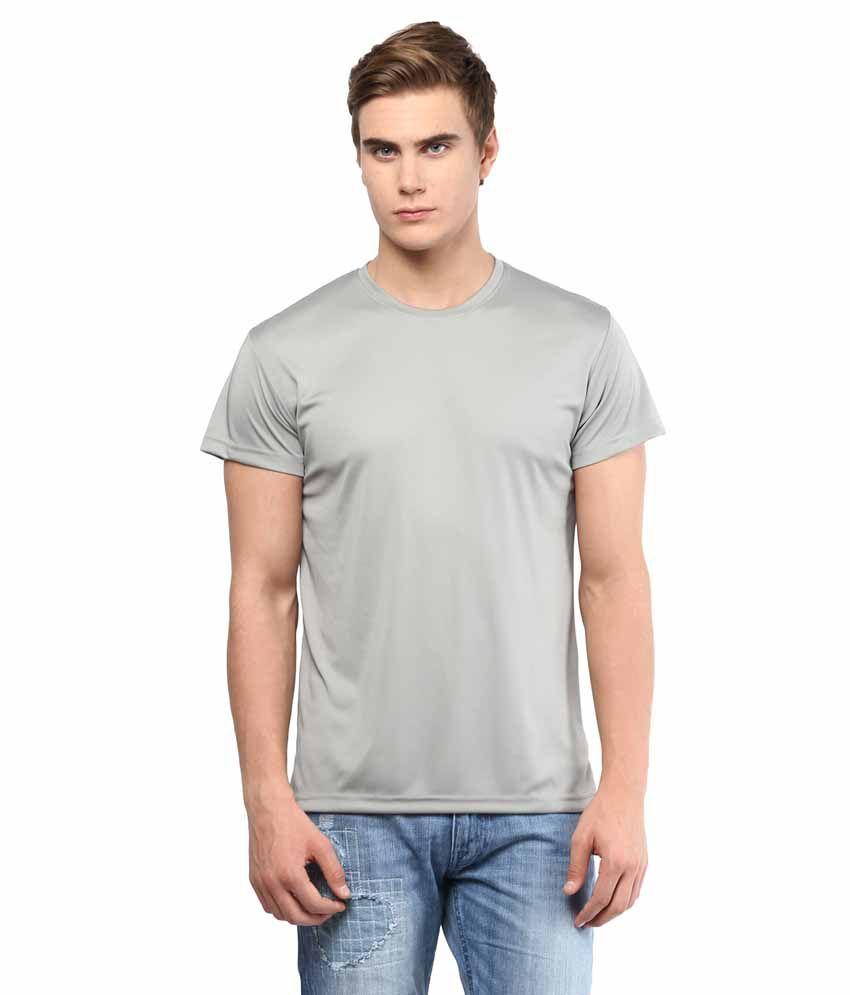 American Crew Gray Polyester T-Shirt