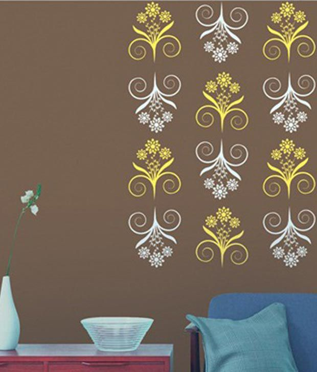 Buy asian paints white plastic wall stencil online at low for Wall paint buy online