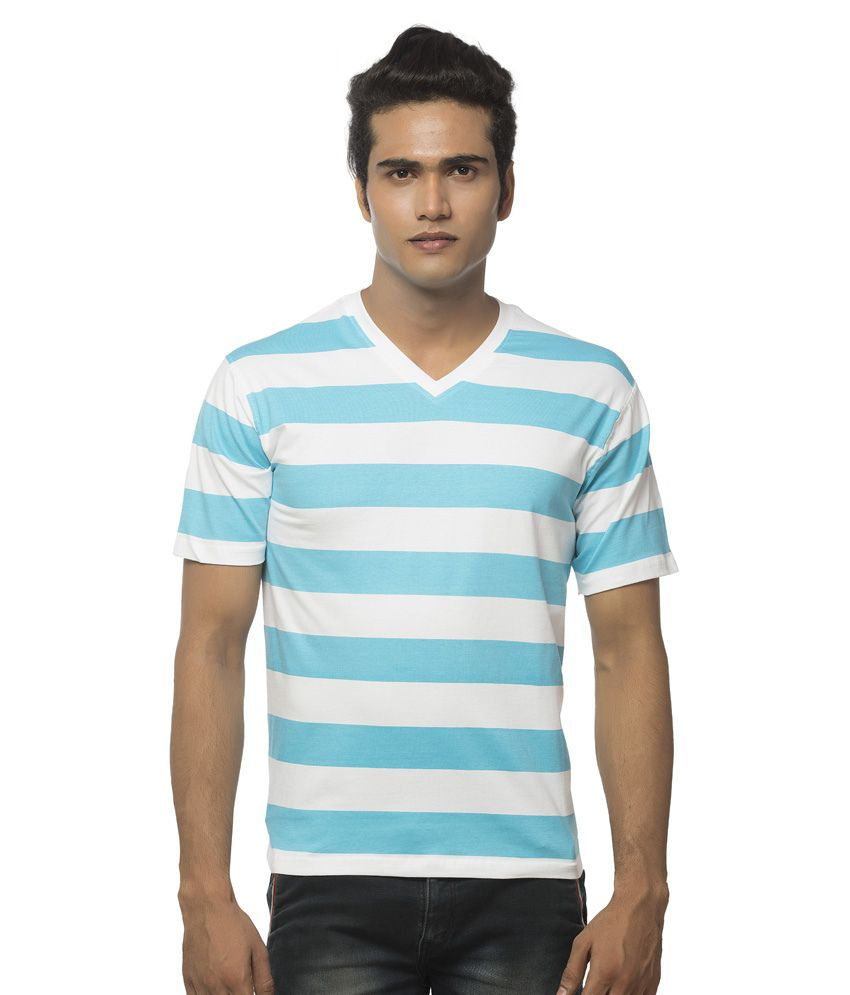 Clifton Blue and White Cotton T-shirt