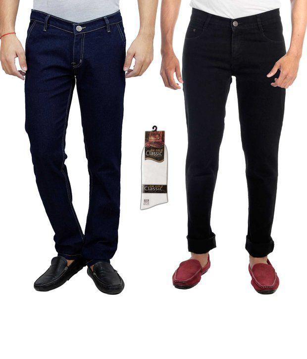 Hultung Combo Of 2 Mens Denim Jeans With Free 1 Pair Of Socks