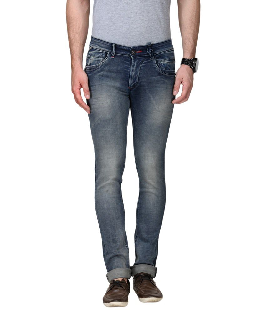 La Marino Blue Slim Fit Cotton Jeans