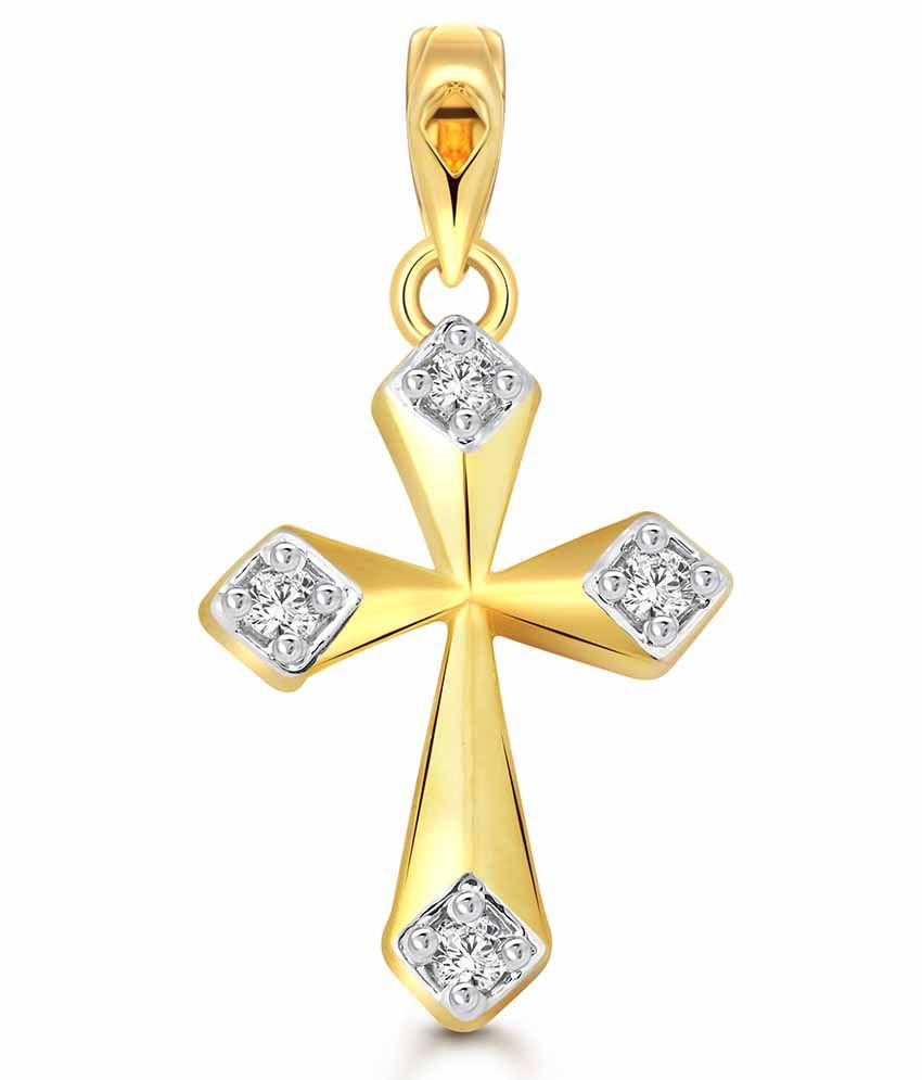 Vighnaharta Cross CZ Gold and Rhodium Plated God Pendant
