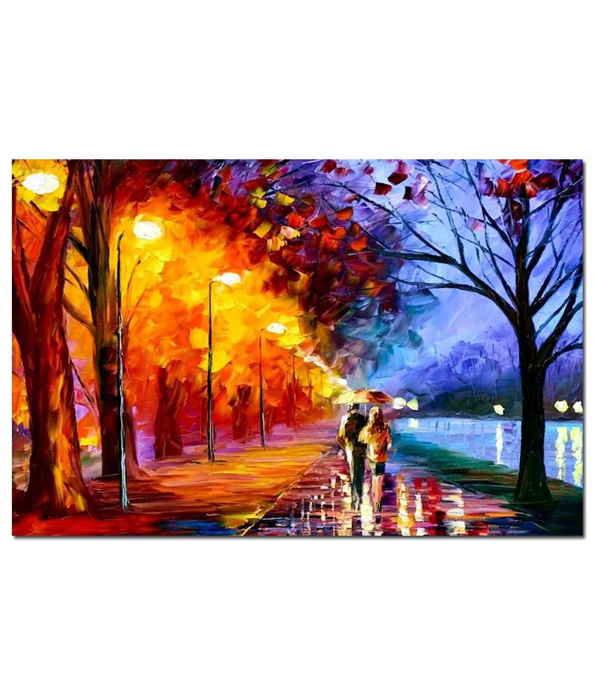 Anwesha's Gallery Wrapped Digitally Printed Canvas Wall Painting 30X20 Inch Awesome Water Colour Painting
