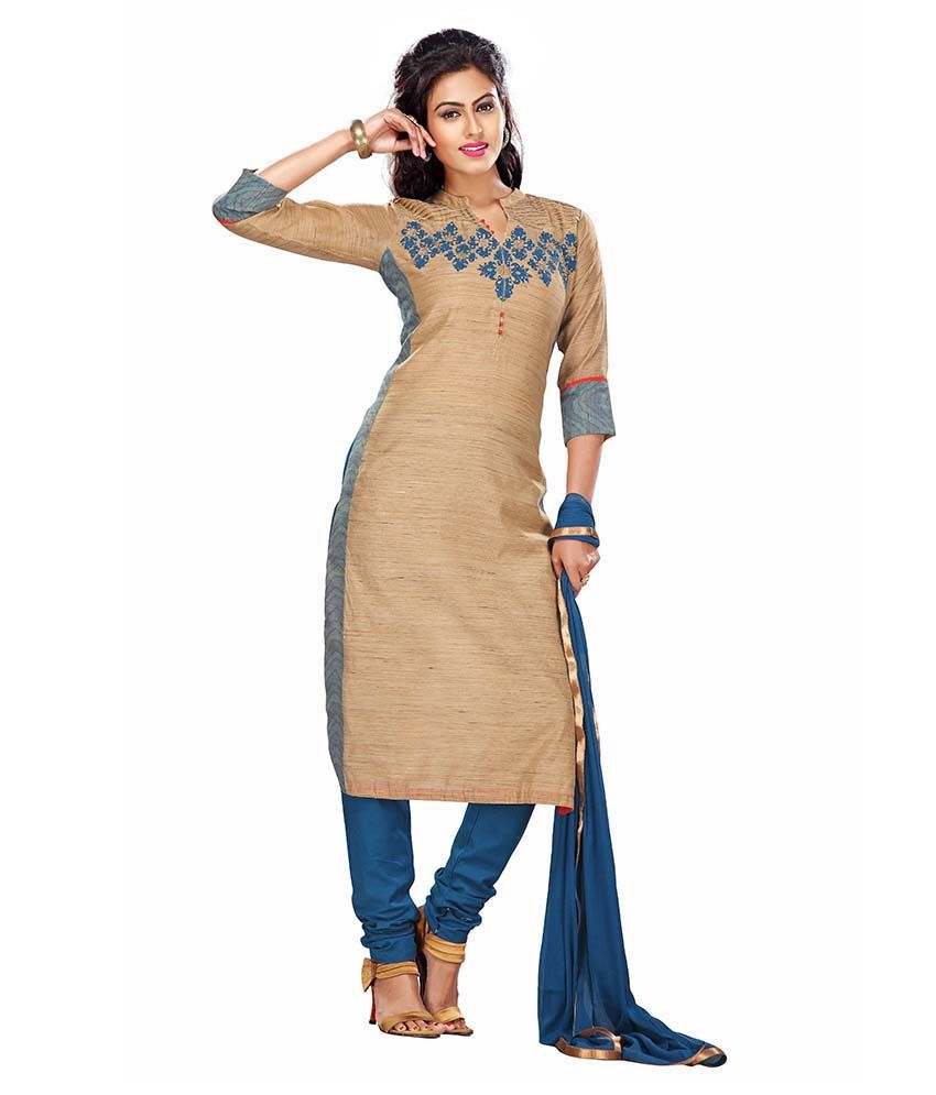 Payal Beige & Blue Khadi