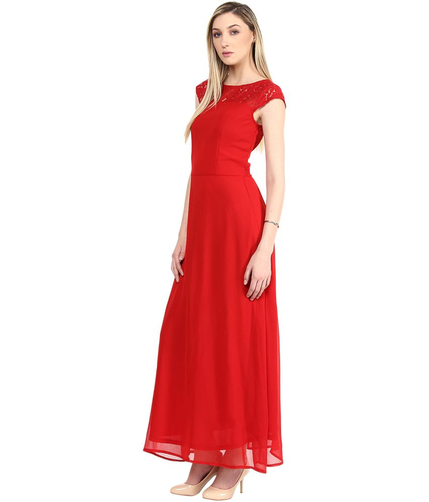 c292c84f15 The Vanca Red Georgette Maxi Dress The Vanca Red Georgette Maxi Dress ...