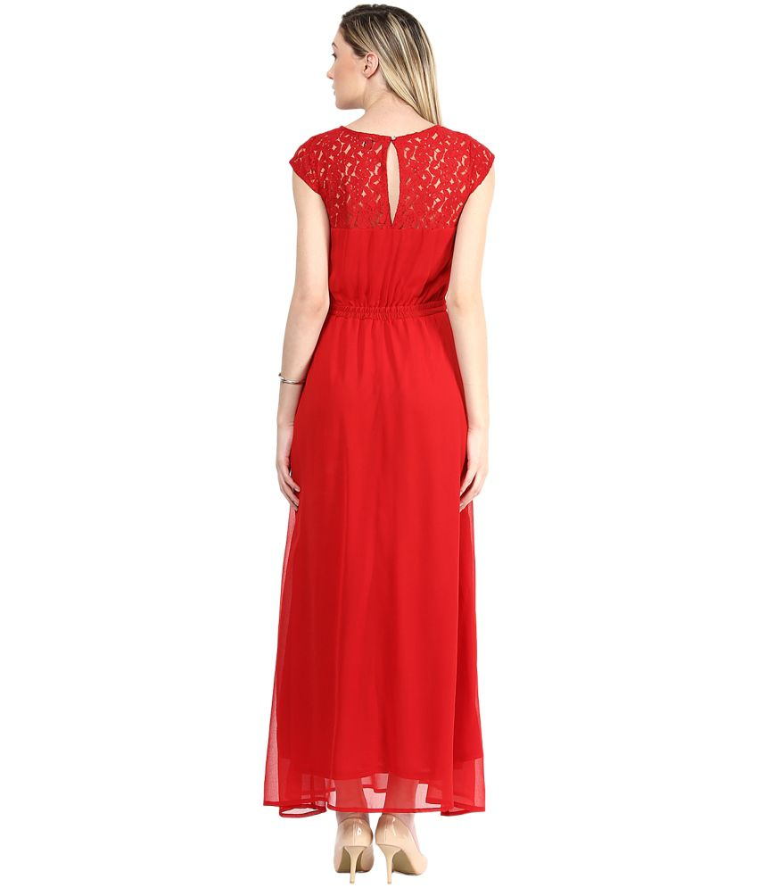 cd368c87f9 The Vanca Red Georgette Maxi Dress - Buy The Vanca Red Georgette ...