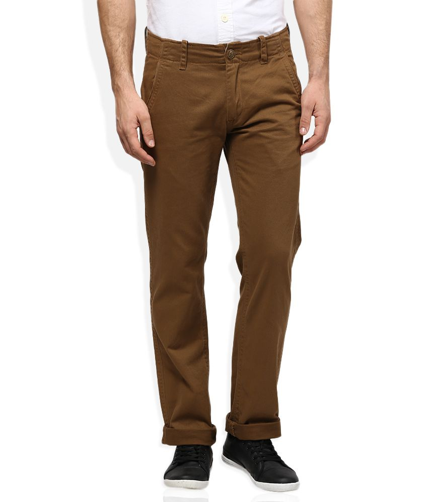 Woodland Brown Regular Fit Trousers