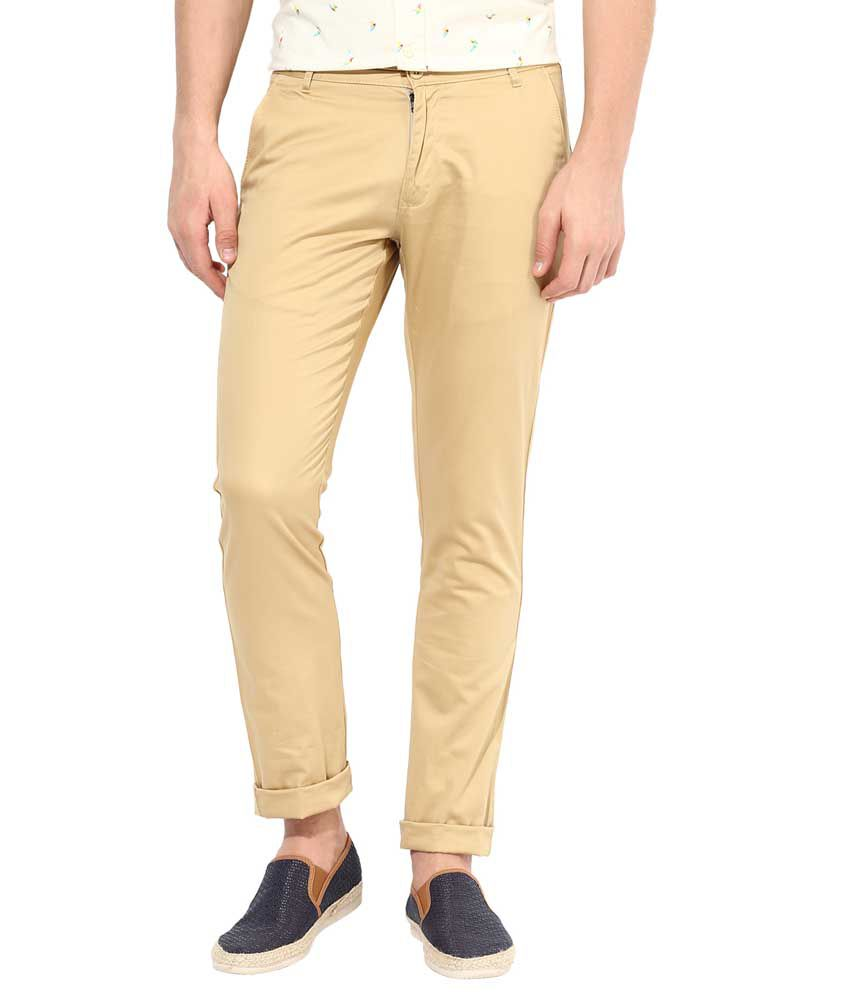 Bukkl Light Khakhi Slim Fit Casual Trouser For Men