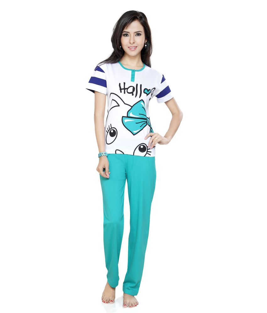 d304d90441b4 Buy Flamingo Lingerie Turquoise Cotton Pajamas Online at Best Prices in  India - Snapdeal