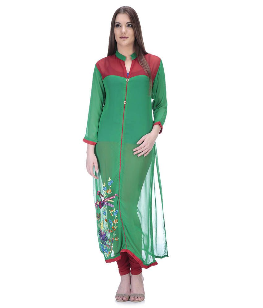 Only-mee Green Georgette Semi Stitched Dress Material