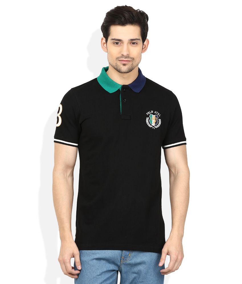 Proline Black Solid Polo T Shirt