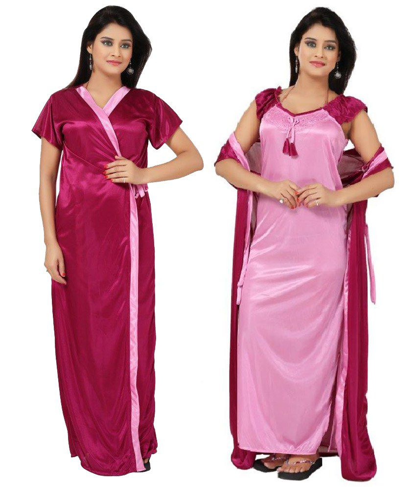 dc37c05cb52 Buy Fabme Satin Pink two piece Nighty (Robe andGown) Online at Best Prices  in India - Snapdeal