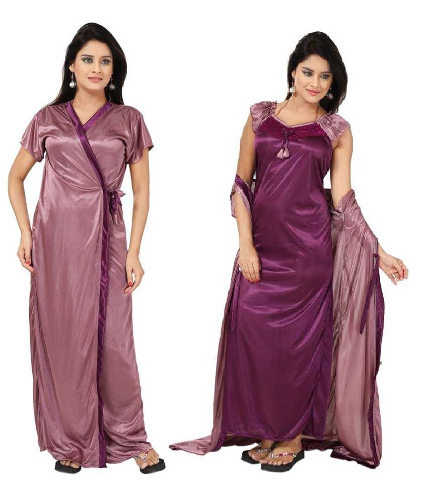 Buy Fabme Satin Elegant Two Piece Nighty Robe Andgown Online At