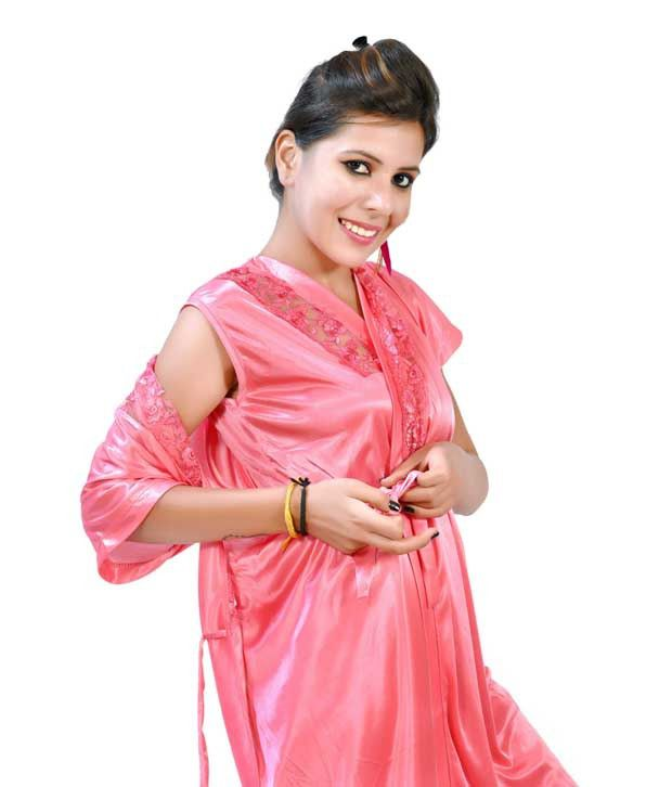 2b458e1ad2864 ... Fashion Zilla Pink Satin Shoulderless Top Payjama With Short Gown Set