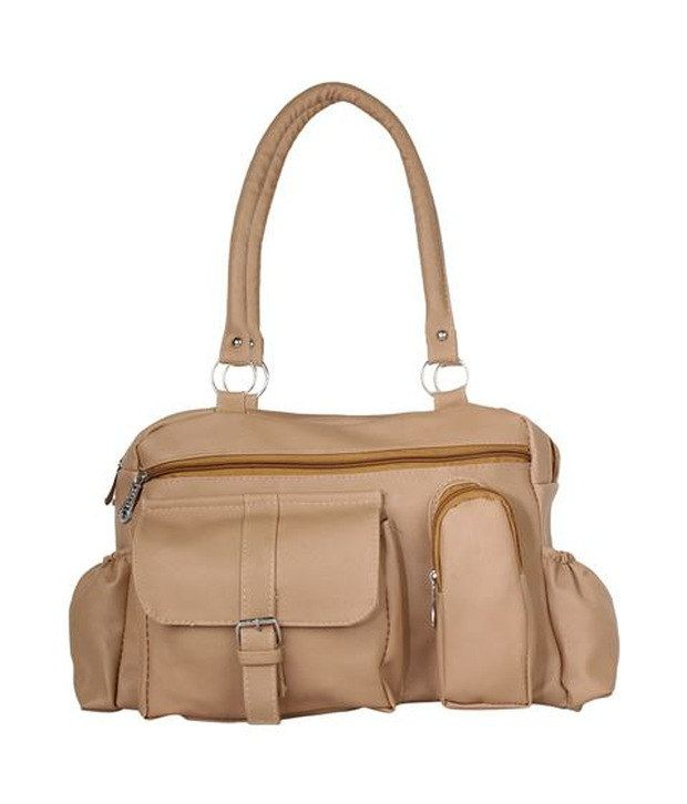 Gracetop Beige P.U. Shoulder Bag