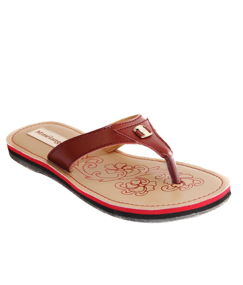 Mmelange Maroon Flat Slip-ons