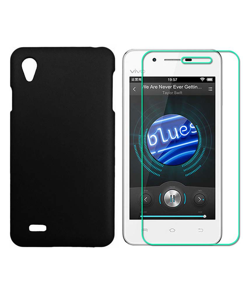 Praiq Hard Shell Back Cover Case For Vivo Y11 With Tempered Glass