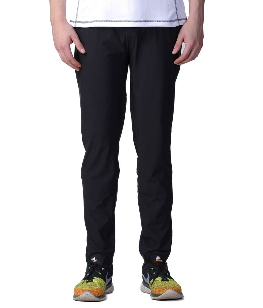 Atheno Black Polyester Sports Gym Legging