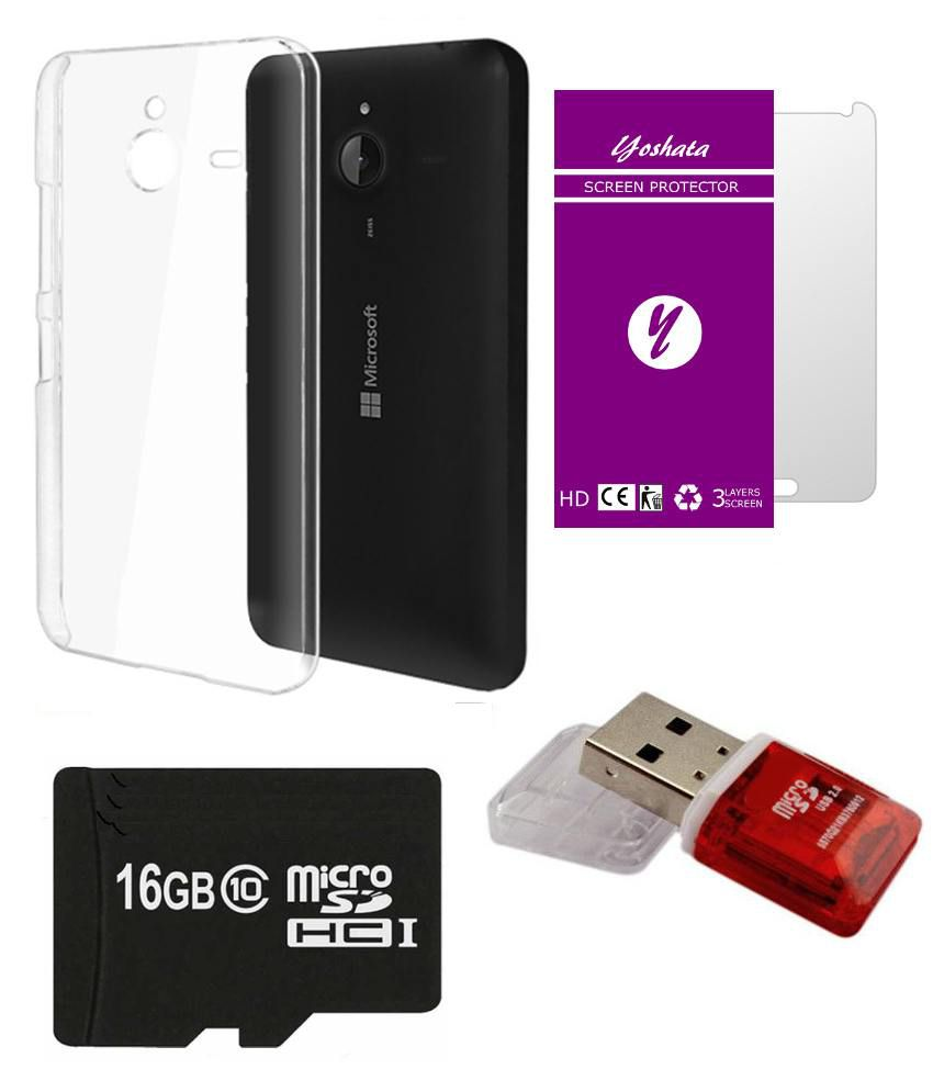Yoshata Back Cover For Micromax Bolt D303 With Screen Cover, 16gb Memory Card, Card Reader - Transparent