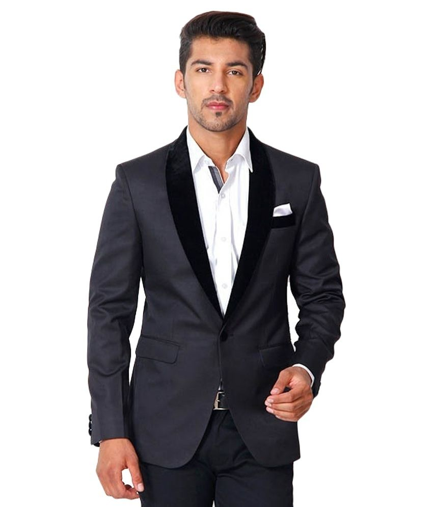 Menjestic Black Poly Blend Party Blazer