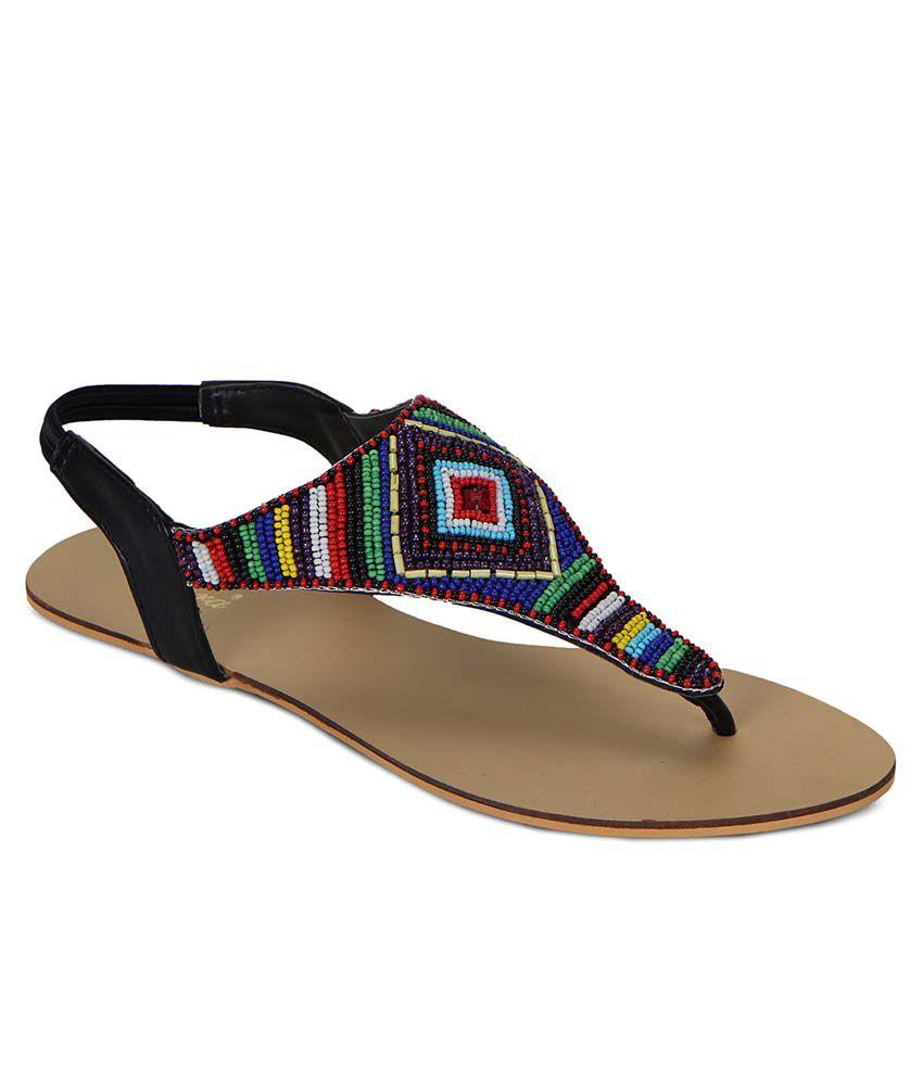 Flora Black Flat Sandals