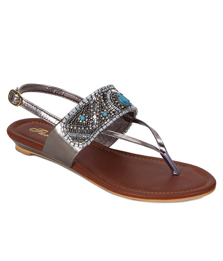 Flora Silver Sandals