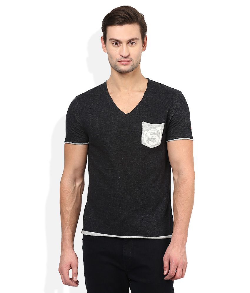 Being Human Black V-Neck Half SleevesT-Shirt