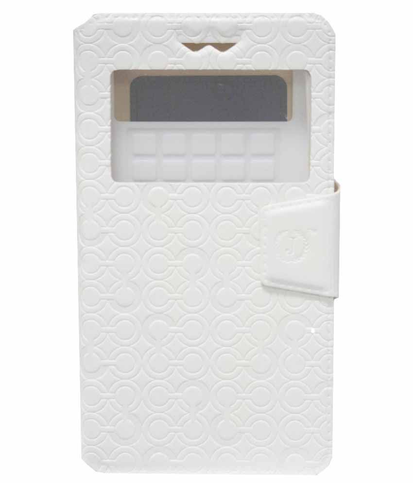 Jo Jo Synthetic Flip Cover Case With Silicon Holder For Samsung Galaxy Express 2 - White