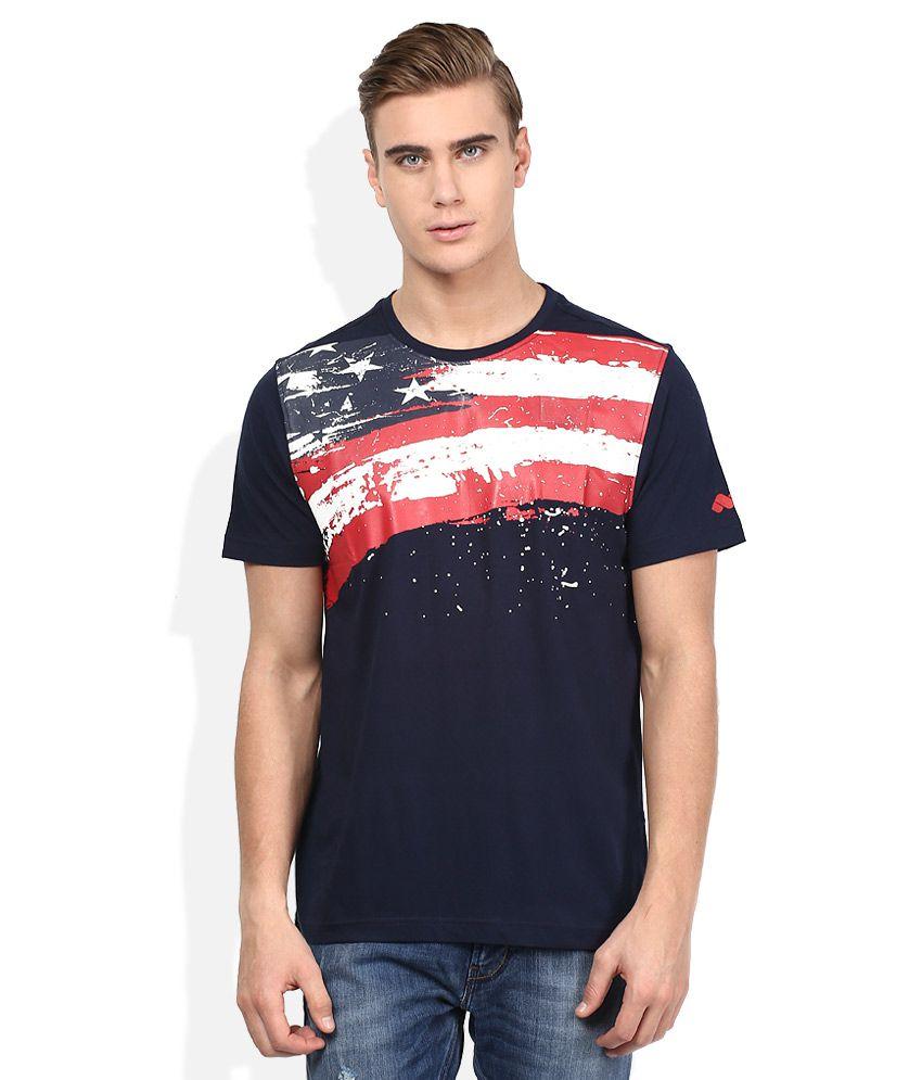 Spunk Navy Round Neck Half Sleeves Printed T-Shirt
