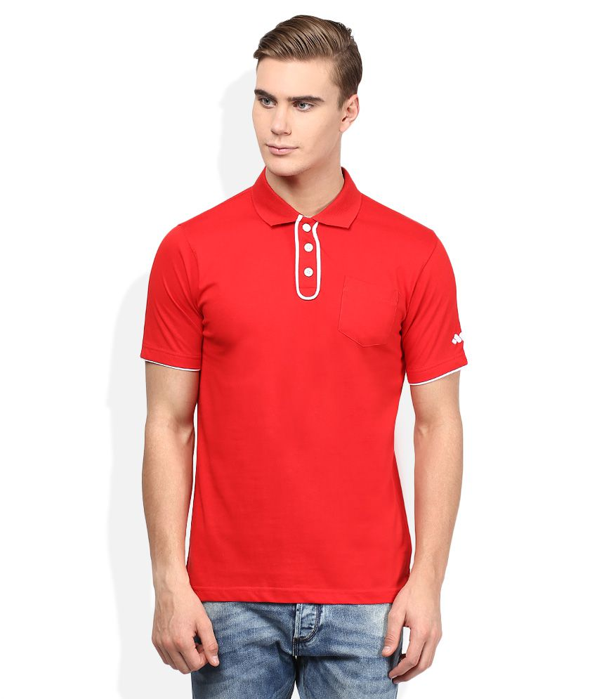 Spunk Red Half Sleeves Solids Polo T-Shirt