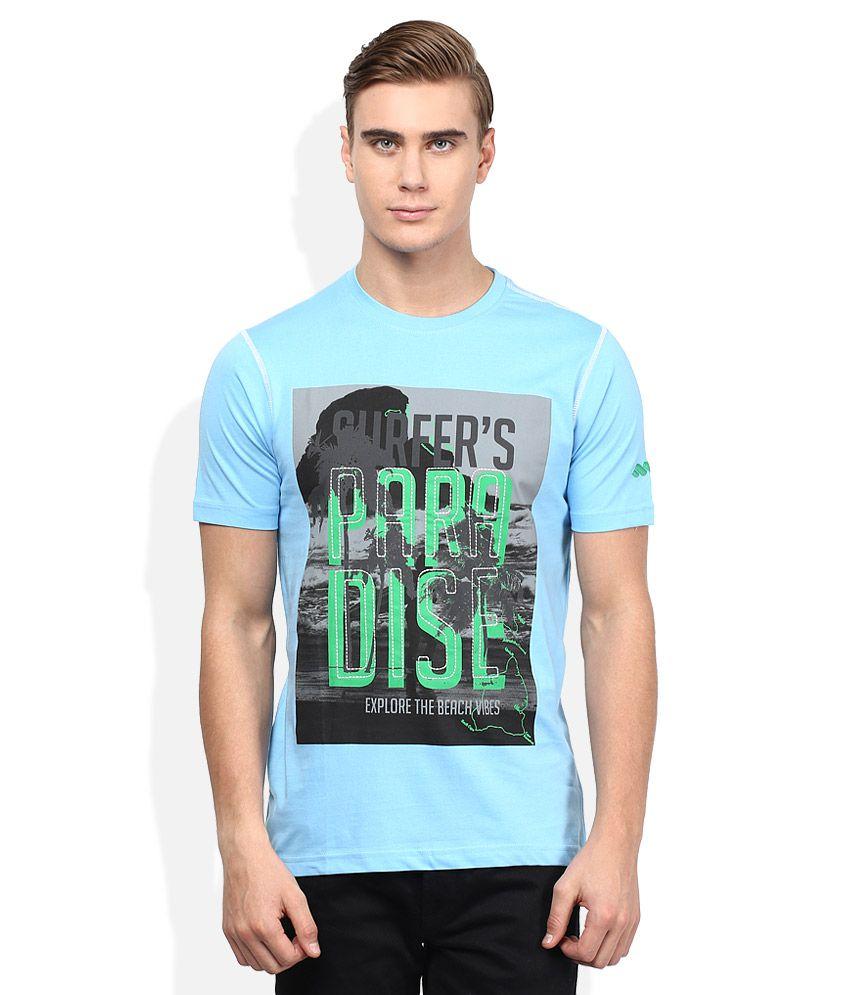 Spunk Turquoise Round Neck Half Sleeves Printed T-Shirt