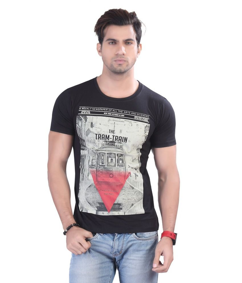 Contrast Black Cotton T Shirt