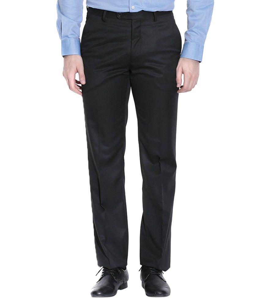 Librazo Black Slim Fit Formal Trouser