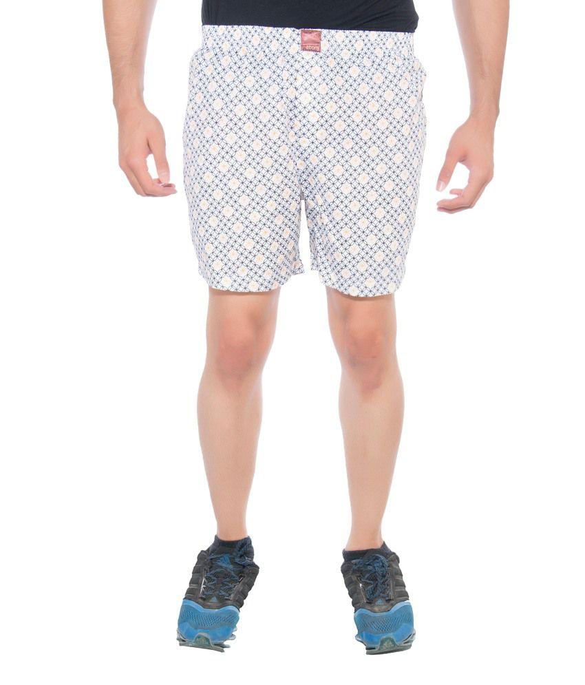 Abony Beige Cotton Blend Printed Shorts