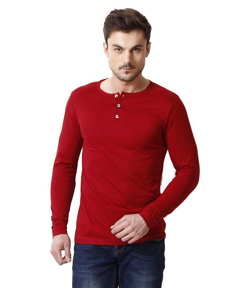 Ansh Fashion Wear Red Cotton Henley T-Shirt
