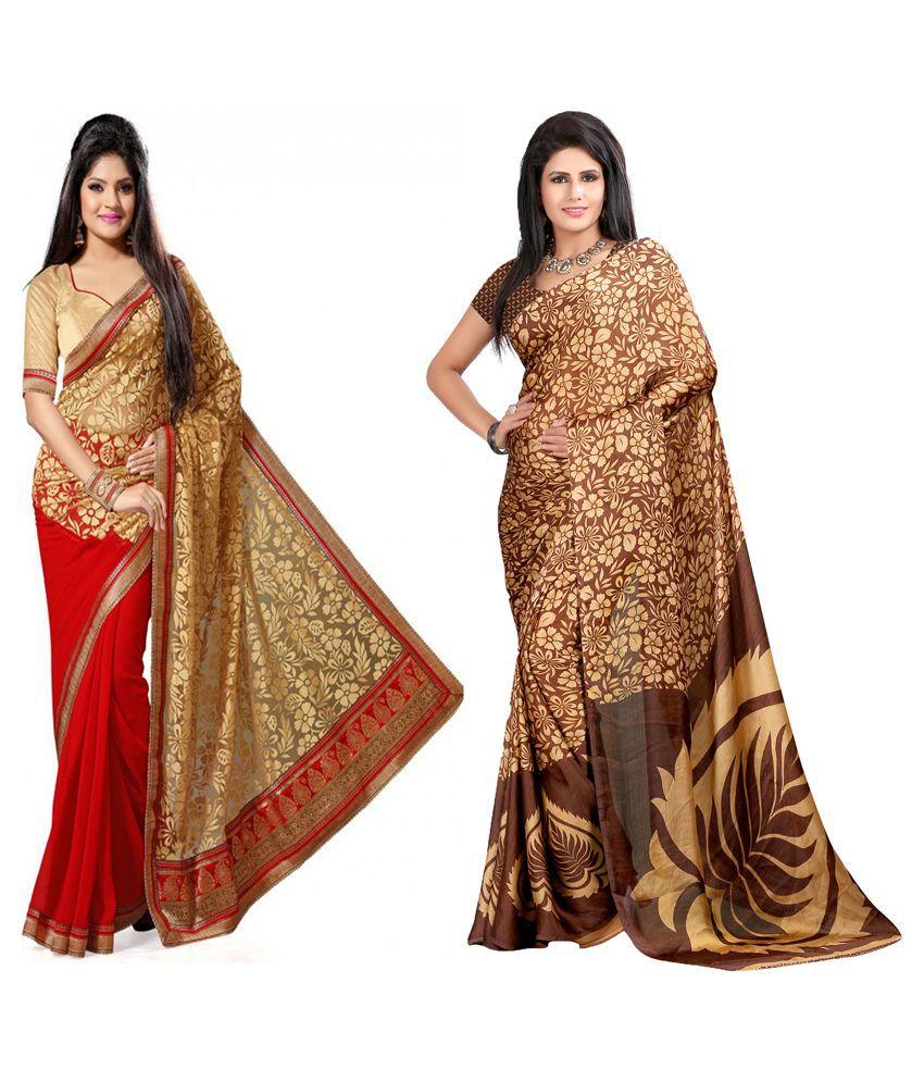 Indianefashion Designer Multi Brasso And Georgette Pack Of 2