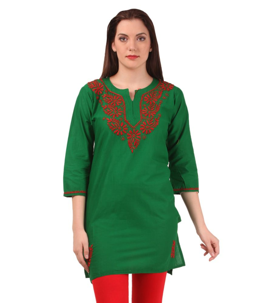 Saadgi Green Cotton Kurti