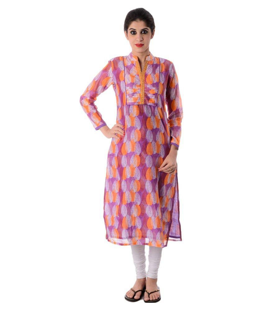 Jaipur Saree Kendra Purple Chanderi Kurti