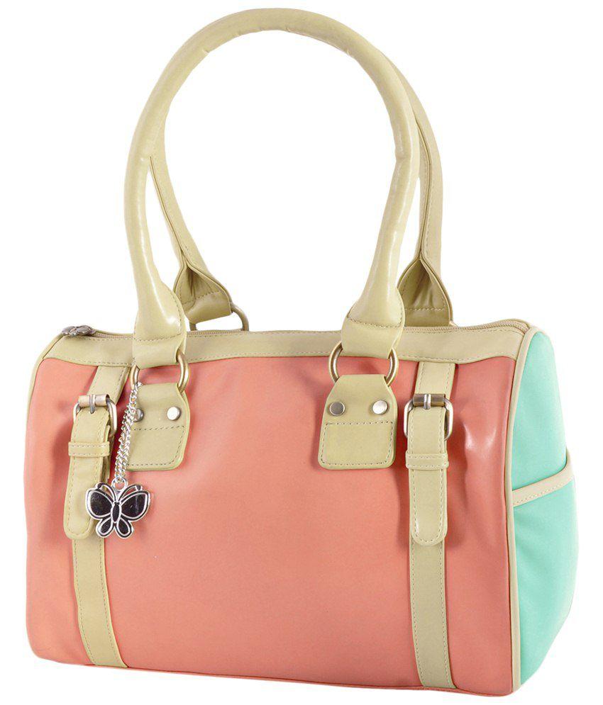 Butterflies Peach & Beige PU Zippered Satchel Bag
