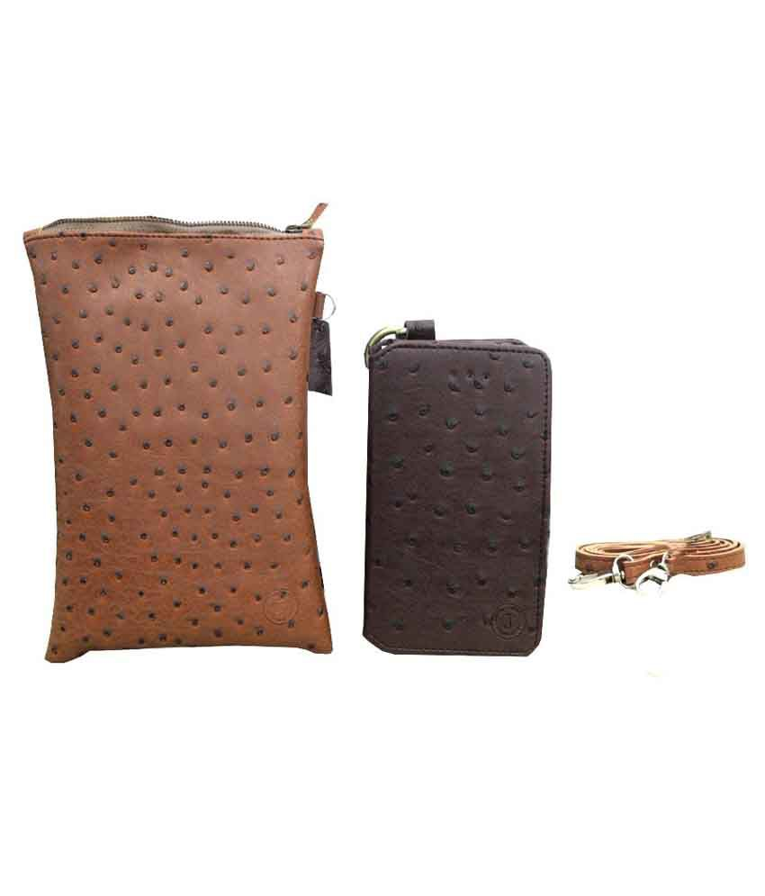 Jo Jo Synthetic Wallet Case For Sony Xperia T3 With Sling Bag - Brown