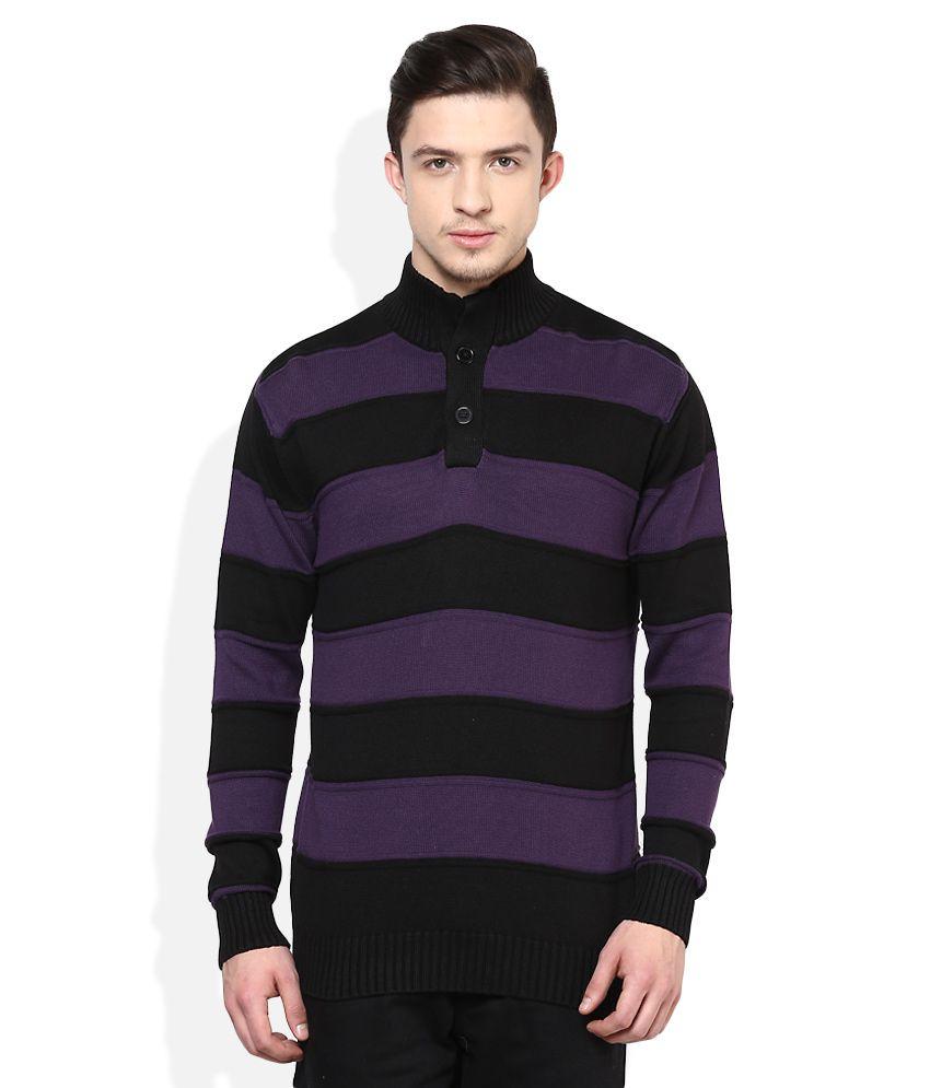 Voi Jeans Black & Purple Striped Sweater - Buy Voi Jeans Black ...