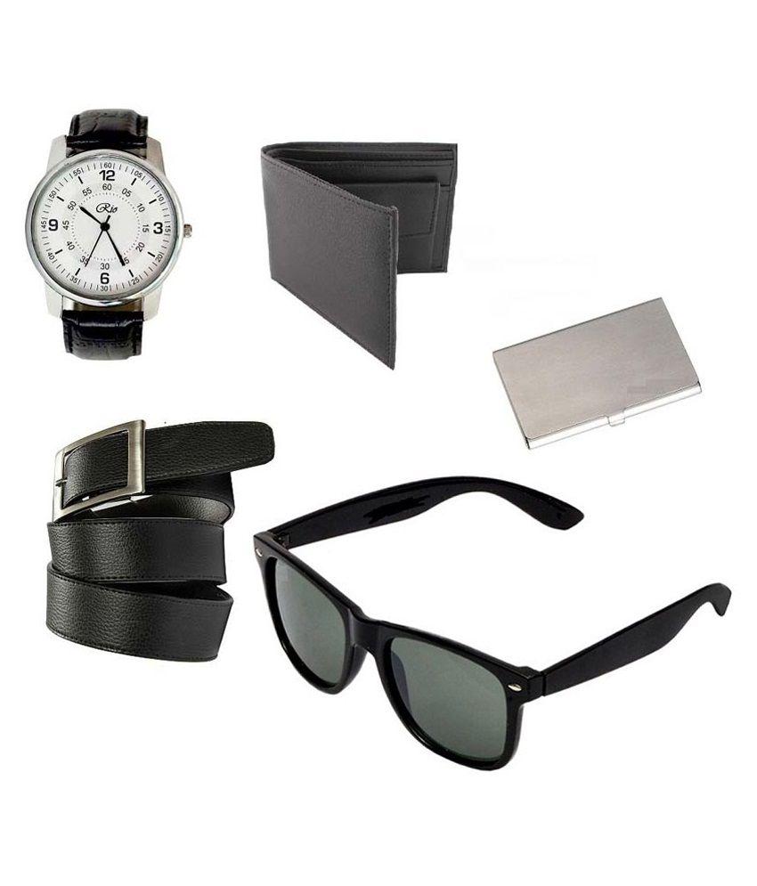 Rio Combo Of Black Wrist Watch, Wallet, Belt, Wayfarer Sunglasses & Card Holder
